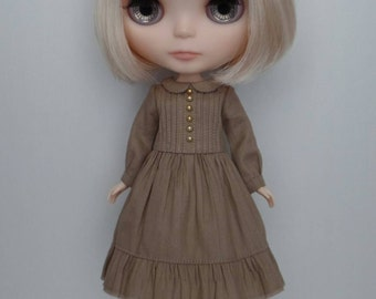 School Girl dress for blythe - Taupe