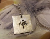 Tree of Life Necklace Family jewelry Pewter silver square pendant hypoallergenic chain  interchangable botanical garden