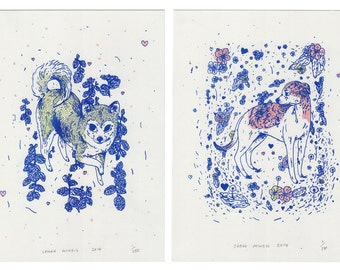 Shiba Inu and Greyhound Risograph Prints on Archival Paper