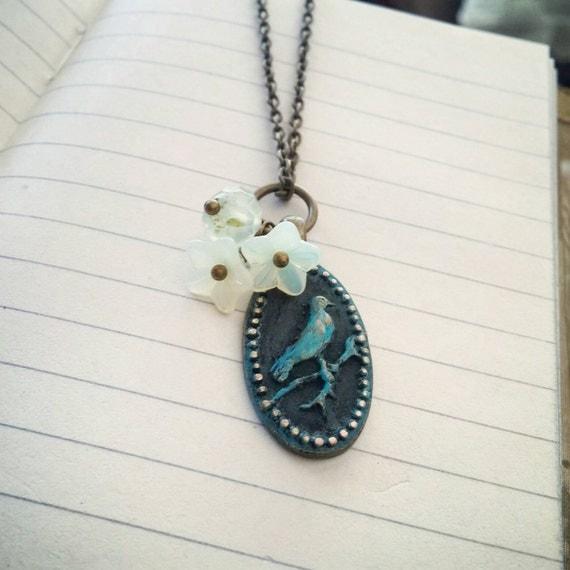 Cottage Chic Pendant Necklace Little Bird Dark Patina Flower Cluster  - Little Bird.