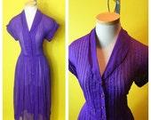 Vintage 1950s PURPLE sheer pintuck bodice shirtwaist dress Large