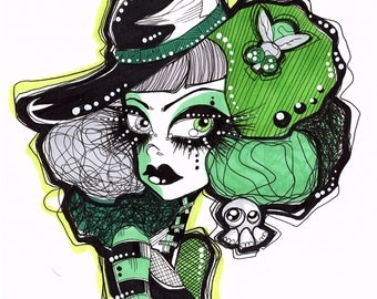 Green Haired Girl with Hat and Fly Original Ink Illustration