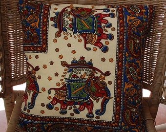 """Hippie Pillow Cover -70's east Indian Tapestry Fabric -14"""" by 14"""" Cotton - Blue Red cream Elephant-Cover only"""