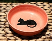 Handmade Ceramic Cat Food Bowl - Cat Water Bowl - Pink Stoneware Bowl - Black Cat Silhouette