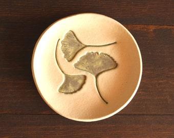 Ceramic Ginkgo LEAF Dish - Handmade Round Stoneware Ginkgo Leaf Ring Dish / Soap Dish - Ready To Ship