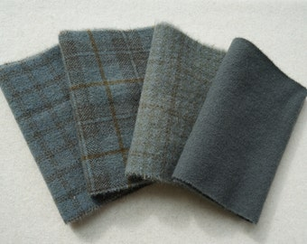 "Charcoal Grey Hand Dyed Felted Wool Fabric, Four 6"" x 15-16"" pieces, Perfect for Rug Hooking, Applique and Crafts"