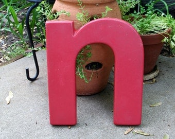 Pinkish Red Letter N / Plastic / Wall Decor