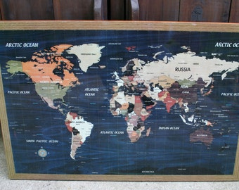 Vintage World Map / Wall Hanging