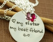 ON SALE My Sister My Best Friend, Hand Stamped Necklace, Personalized Jewelry, Sister, Friend, Keepsake