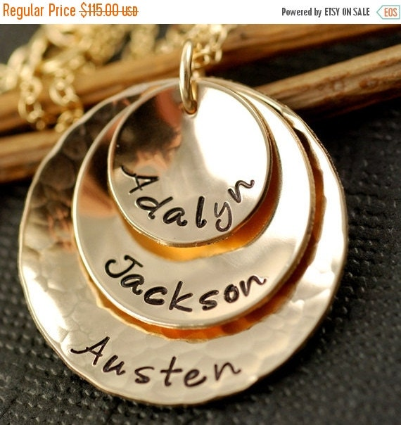 SALE Hand Stamped Necklace, 14kt Gold Filled Necklace - Custom - Personalized, Mommy Necklace, Mother Jewelry