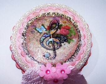 ON SALE Wall Decor, Treble Clef, Musical, Music, Pink, Gifts for Her, Picture, Mixed Media, Home Decor, Roses, Musical Notes, Colorful, Femi