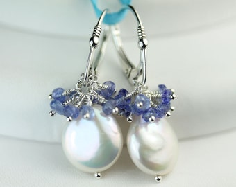 Coin Pearl Tanzanite Cluster Lever back earrings by art4ear, Pearl June Birthstone, something blue, cluster earings, gift under 50 dollars