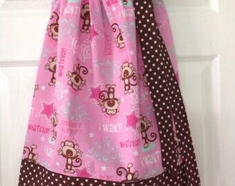 Ready to Ship! Size 4 Monkey Pillowcase Dress