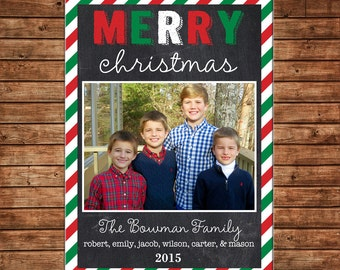 Photo Picture Christmas Holiday Card Chalkboard Chalk Red Green Multi Bright Stripe - Digital File