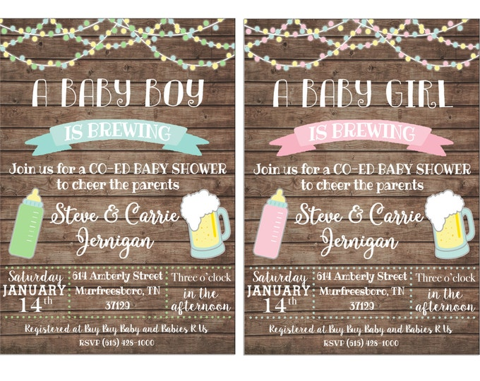 Baby Brewing Brew Beer Bottle Co-ed Shower Boy Girl Party Tea String Lights Wood Invitation - DIGITAL FILE
