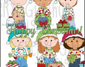 Little Christmas Cuties Clipart Collection - Immediate Download