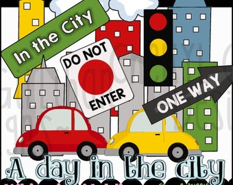 A Day in the City Clipart Collection - Immediate Download