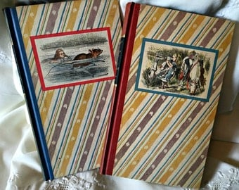Vintage Alice In Wonderland, Through The Looking Glass books set of 2 books John Tenniel illustrated classics children's books Lewis Carroll