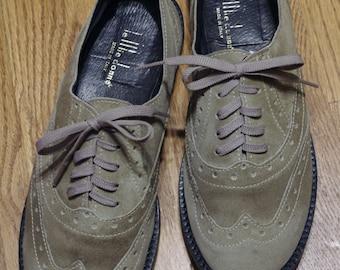 Vintage Italian Le Mie Donne Sage Green Suede Wingtip Brogues Oxford Shoe EU Sz 40 US Women's Size 9.5