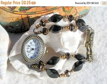 ON SALE 50% OFF Antique Brass Watch, Black Beaded Jewelry      Sold as is 6.75 inches