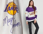 LA Lakers Shirt Basketball Sweatshirt 80s MAGIC JOHNSON 32 Los Angeles Throwback Sports Pullover Jumper Vintage 90s Purple Medium