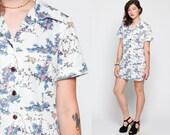 Bird Dress Hippie Boho Mini 70s Mod Floral Shift Button Up 60s Twiggy Festival Vintage Bohemian White Short Sleeve Minidress Large xl
