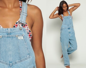Guess Overalls Women 90s Denim GRUNGE Pants Baggy Long Jean Pants Tapered 1990s Hipster Vintage Jumpsuit Faded Carpenter Medium