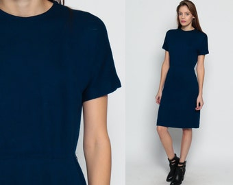 Mod Dress Plain Navy Blue 70s Mini High Waisted Boho 60s Vintage Short Sleeve Mad Men Sheath Secretary 1970s Minidress gogo retro Large