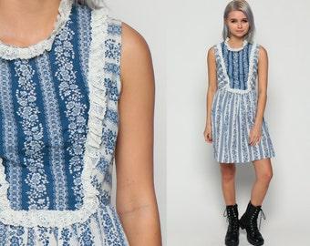 70s Mini Dress Floral Mini LACE Mod Babydoll Bib 60s Boho Hippie Striped Flower Print Vintage High Blue White Sleeveless Small