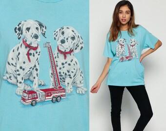 Dog Shirt DALMATIAN PUPPY Graphic Tshirt Fire Truck Print Vintage 80s Animal Retro T Shirt 90s Tee Dog Breed Baby Blue Burnout Large