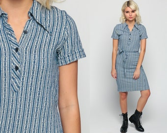 70s Mini Dress 60s Shift Mod Striped Floral Shirtdress Button Up Mini Collared Short Sleeve Vintage 1970s Twiggy Sixties Blue Small Medium
