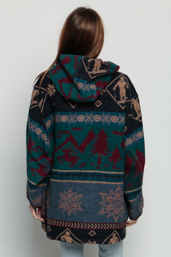 Hooded Jacket 80s WOOL Deer Print SKI Blanket Coat Grunge xl