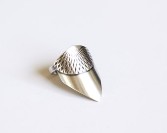 "Unique silver ring handmade of recycled sterling silver in an arrow wing shape overlayed with intricately embossed pattern - ""Freya Ring"""