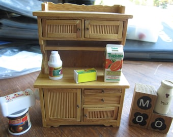 Dollhouse Kitchen Decor- Hoover Cabinet with Food  MOO Blocks, and  Milk Bottle. #102