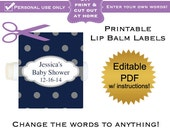 DIY printable lip balm labels editable Navy polka dot baby shower favors or bridal or wedding PDF Digital File (No.26)