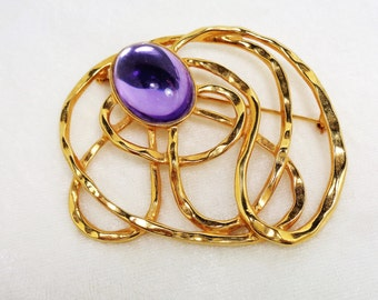 Large Modernistic Goldtone with Large Light Purple Stone Brooch