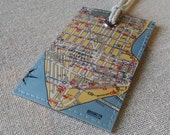 NYC Lower Manhattan original vintage map luggage tag