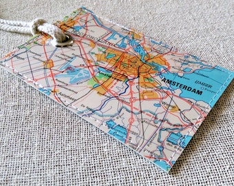 Amsterdam luggage tag made with original vintage map