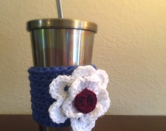 White Flower on Blue Coffee Cozy