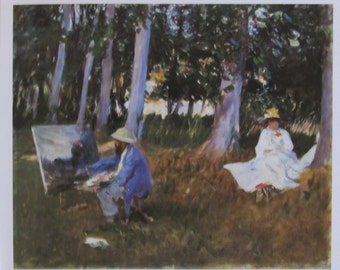 John Singer Sargent- Claude Monet Painting-- Unframed Reproduction Art Print, 9.5 x 14 in Book Page, Color Plate, Book Plate