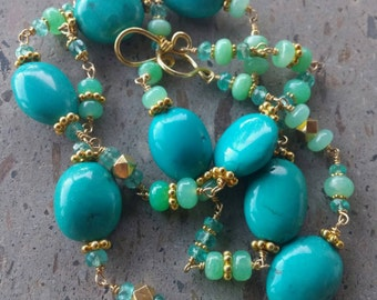 Turquoise Necklace,  Chrysoprase Necklace, Apatite and Gold Wire Wrapped Necklace, Long Gold Vermeil and Gold Filled Gemstone Necklace