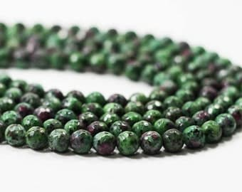 "7 Gemstone STRAND - Kiwi Jasper Beads - 8mm Faceted Rounds - Ruby Pink, Emerald Green, Black (7"" strand - 22 beads) - str1247"