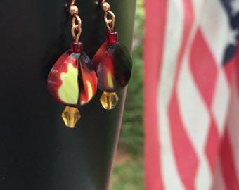 On Fire beaded dangle earrings, bead earrings, focal bead earring, dangle earring, fire bead, fire