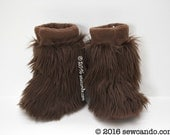Baby Toddler Wookie Inspired Furry Fluffy Little Fuzzball Brown Faux Fur Slippers