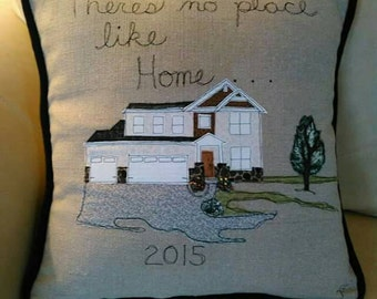 Your House Personalized Designer Pillow Cover Thread Sketching