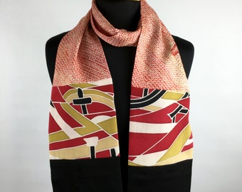 "SILK SCARF made from Vintage Japanese Kimono Silk - 66"" length, Free Shipping to US Addresses,Kimono Scarf, Unique Scarf,"