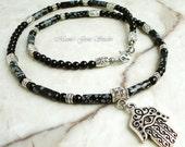 Hand of Hamsa Charm Necklace for Men, Black Onyx Snowflake Obsidian, Gemstone, Beaded Mens Necklace, Handmade