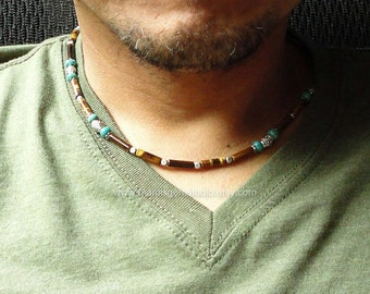 Mens Necklace, Brown Tiger Eye, Tibetan Green Turquoise, Beaded Men's Stone Necklace, Handmade Jewelry for Men, Guys, Dad, Him