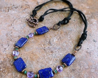 Blue Lapis, Purple Amethyst, Green Aventurine Gemstone Necklace with Black Leather, Antiqued Copper