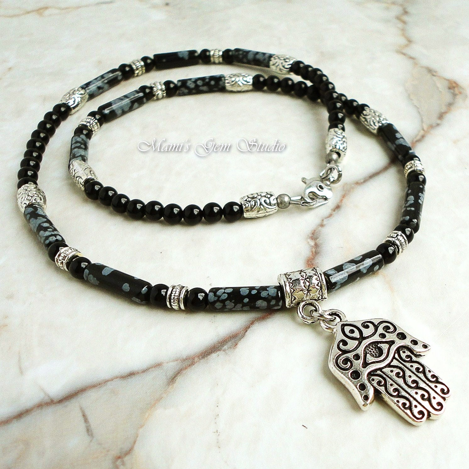 Hand Of Hamsa Charm Necklace For Men Black Onyx Snowflake